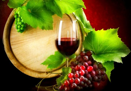 RED WINE - leaves, barrel, wine, grapes, glass, red