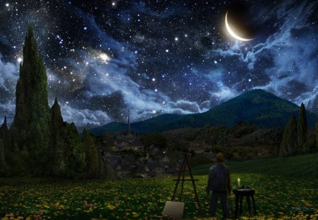 STARLIT NIGHT - palette, artist, people, landscapes, trees, canvas, art, planets, night, stars, moons, mountains, space