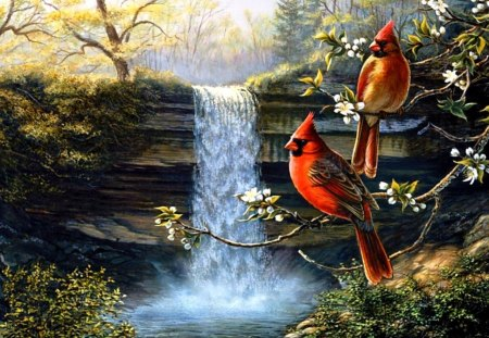 Heritage Cardinals - birds, painting, nature, trees, waterfall