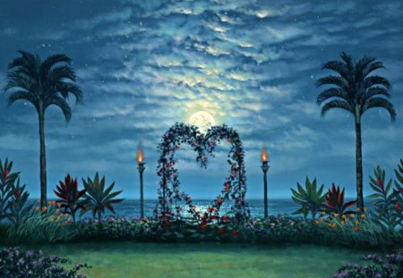 Garden of Love and Romance - moon, heart, clouds, palms, stars, love, tiki torches, grass, flowers, romance, garden, ocean, water