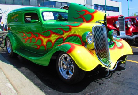 1934 Ford Sedan Delivery - 1934, cool, 34, show car, flames, street rod, ford, hot rod, vintage, custom