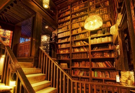 Personal Library - rocks, librat, books, ancient books, light, old books, library, house, rock
