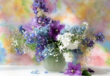 Colourful Flowers - flowers, still life, white, nature, vase