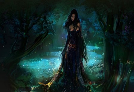 Water Nymph - trees, mysterious, pretty, waterfall, magic, dark, lady, forest, fantasy, stream