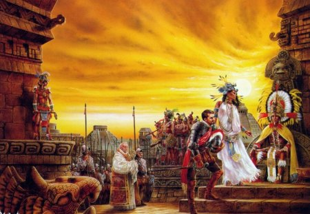 The Spaniards Arrive - royo, church, luis royo, feathers, statues, pyramids, headdresses, aztecs, spaniards, natives