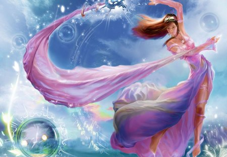 Magic Dance - cool, cloud, ribbon, sexy, magic, water, dance, female, staff, jewelry, fantasy, magic dance, sky, long hair, bubble, brown hair, heaven, hot, dress