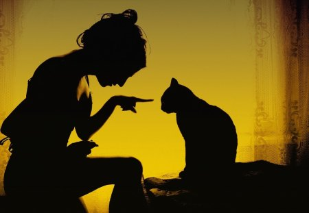 Bad kitty!! - girl, silhouettes, cat, bad, kitty