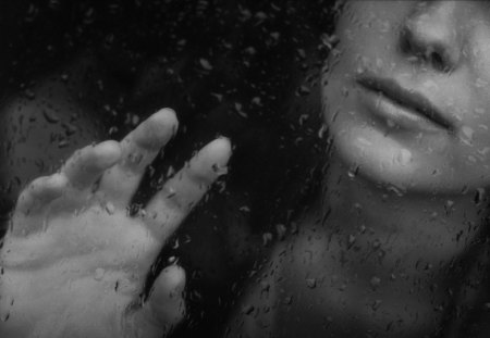 Touch the rain - rain, window, woman, black, white, drops