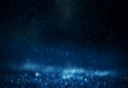 Blue Raining - drops, weather, water, rain