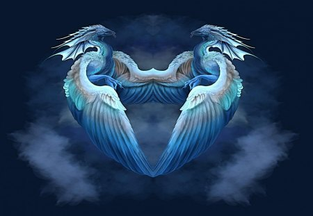 dragon heart - warm, blue, love, flying, dragons