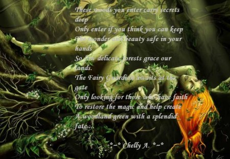 Yad a fairy forest... - vine, a woman, a tree, poem