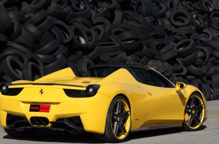 Ferrari 458 Spider - tires, ferrari, italy, yellow