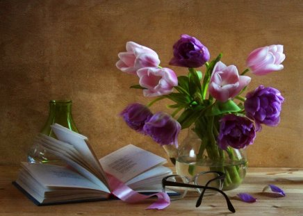 Still life - flowers, delicate, pages, beautiful, ribbon, pretty, lovely, harmony, vase, purple, nice, still life, violet, glasses, bouquet, book