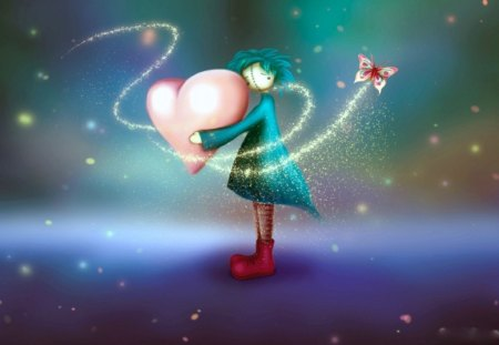 HEART OF MINE - blue, stars, sadness, flight, butterflies, heartache, 3d, girls, dolls