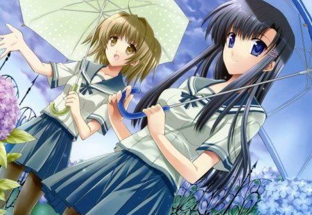 Rainy Weather - school, short hair, long hair, ribbon, bow, flower, plants, uniform, rainy, girls, umbrella, weather