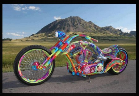 Bike of peace - funny, bike, fun, road, moutain, peace, color