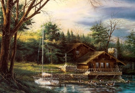 Lake Scenery - cabin, painting, boat, nature, trees