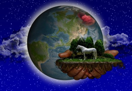 The Hand of the Creator - earth, horse, hand, planet, trees