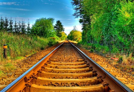 Railroad - railroad, beautiful, road, sky, country, tree, clouds, rails, sunny, nature, greenery