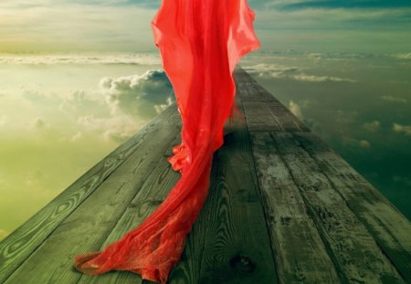 In Quest of her Dreamland - red, path, wood, dress