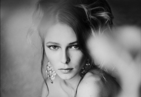 Eternality's Eyes - eyes, woman, think, beautiful, face, black and white, portrait, feel