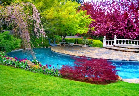 Place to relax - pleasant, garden, spring, beautiful, blue, pretty, blossoms, water, relax, nice, grass, green, summer, place, trees, rest, pool, blooming, lovely, paradise, leaves, bridge, park, bushes