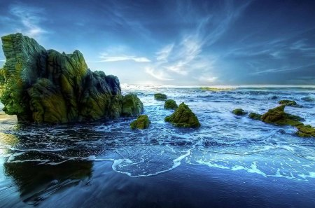 beautiful peaceful beach hde - moss, surf, rocks, hdr, beach