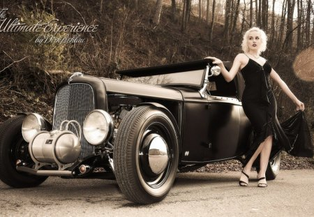 Pinup girl - photo, girl, road, car