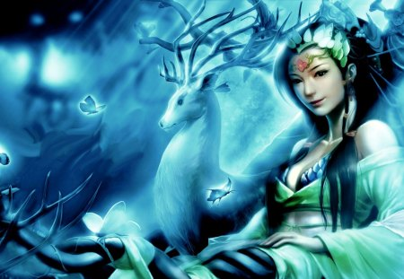 BEAUTIFUL PRINCESS - forest, princess, deer, girl, butterflies, art