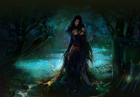 Fantasy Girl - green, black, art, tree, girl, woman, queen, forest, nature, fantasy, cg