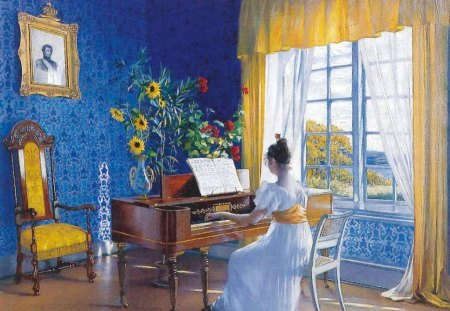 Blaa - blue walls, sunshine through window, woman, music, asta noerrestad painting