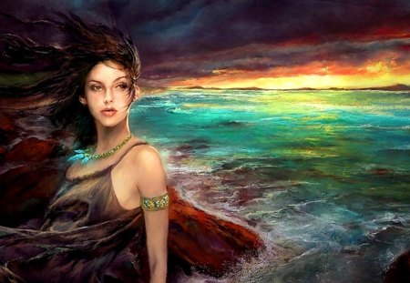 mystical ocean - girl, sky, painting, ocean, fantasy