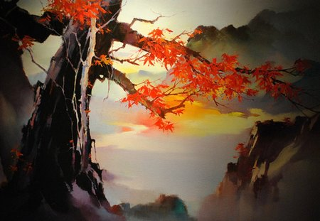Japanese tree painting - painting, red, tree, fantasy
