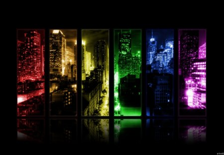 CITYSCAPE MULTI-COLOR PANORAMIC PANEL - photography, panoramic, lights, city, rainbow