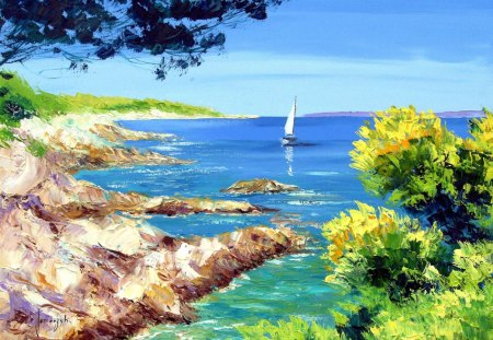 Sea Shore Painting - lake, blue, rocks, paint, water, white, boats, land, green, trees, sky, shore, colors, painting, sailboat, leaves, clouds, nature, hills, bushes