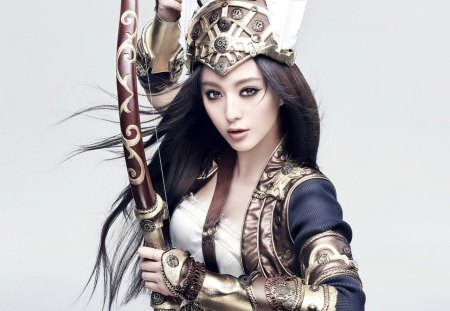 Lady Archer - arrows, dark hair, woman, bow, soldier