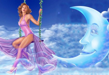 LADY SWING In The Moon Cloud - sky, cloud, cartoon, blue, purple, lady, woman, star, moon, photoshop, white