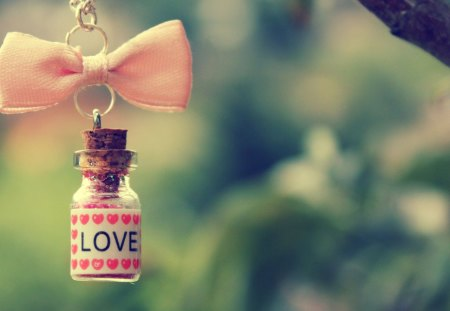 Bottle love - warm, feeling, cute, ribbon, lovely, hearts, chain, bottle, still life, love, hang