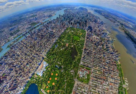 New York City Pano - populated, beautiful, hudson, stiched, majestic, central park