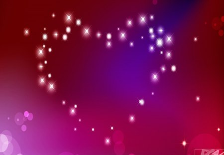 Heart of stars - purple, heart, stars, pink