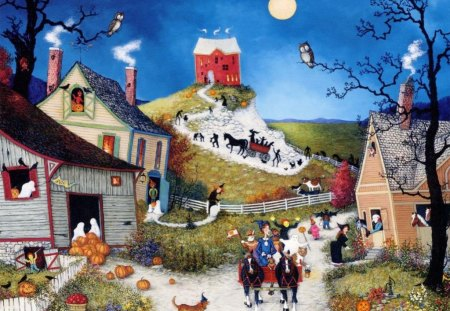 First_Halloween - horse, homes, dog, witch