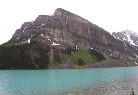 Blue Lake at Banff Alberta - green, lake, Photography, Mountains, trees, Blue