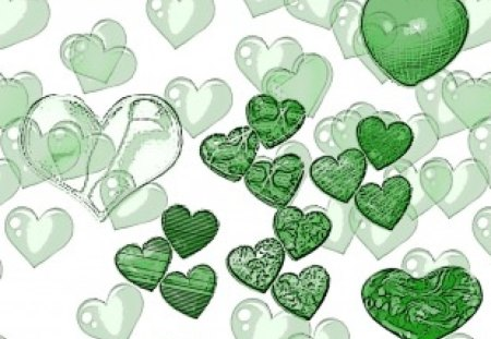 green hearts - Other & Abstract Background Wallpapers on ...