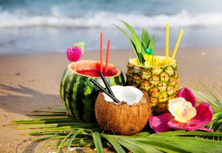 Tropical cocktail - drink, ocean, waves, flower, cocktail, water melon, sea, tropics, coconut, water, summer, nature, exotic, beautiful, tropical, juice, yummy, beach, pineapple