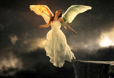 Sad angel - wings, evening, darkness, angel, sky, rocks, night, girl, lady, woman, sandess, god, white dressed, sad