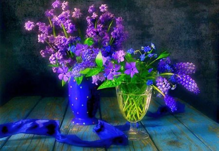 Beauty in purple - flowers, vases, purple, blue, green leaves