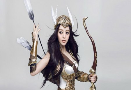 Lady Archer 2 - wing helmet, woman, dark hair, arrows, bow