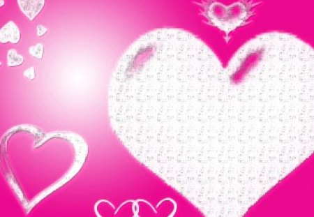pink hearts - textures, hearts, white, pink