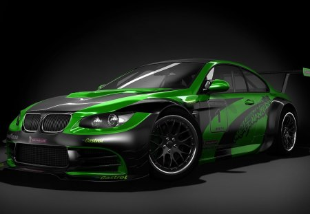 BMW M3 GTR - green, bmw, tuned, black