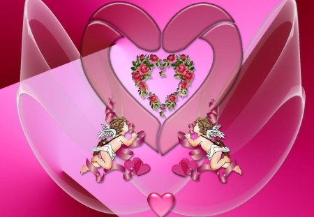 Heart_Wallpaper - cupids, wings, flowers, hearts